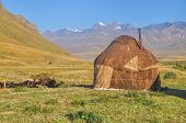 foto of yurt  - Traditional yurt on green grasslands in Kyrgyzstan - JPG