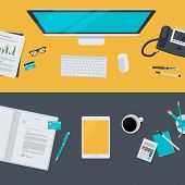 image of business-office  - Set of flat vector design illustration of modern business office and workspace - JPG