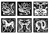 pic of celtic  - Abstract white animal ornaments in celtic style with tribal pattern on black background for tattoo or culture design - JPG
