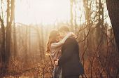 image of heterosexual couple  - Portrait of a couple on a positive nature - JPG