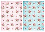 image of decoupage  - Shabby chic backgrounds with roses  - JPG