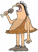 foto of caveman  - a caveman eating a large drumstick piece of a cooked bird - JPG
