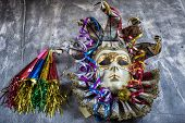 pic of blowers  - Classical venetian carnival mask with blowers and serpentine - JPG