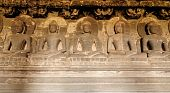 stock photo of ellora  - Ancient Buddhist cave temples at Ellora Maharashtra India  - JPG