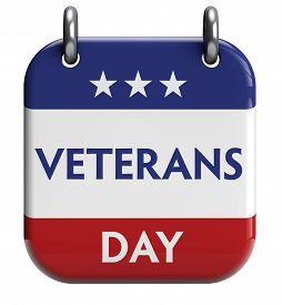 stock photo of veterans  - Veterans Day isolated calendar icon - JPG
