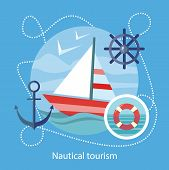 Постер, плакат: Nautical Tourism Sailing Vessel in Blue Water