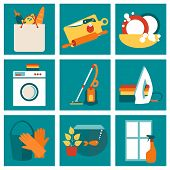 pic of house cleaning  - House work concept vector illustration - JPG