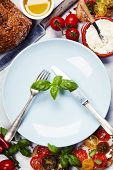pic of tomato sandwich  - Tomato and basil sandwiches with ingredients  - JPG