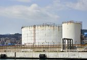 stock photo of genova  - detail of a chemical plant in the harbour of Genova - JPG