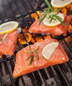 picture of salmon steak  - Delicious grilled salmon steaks on fire - JPG