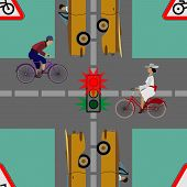foto of traffic rules  - Traffic lights and signs on the road on which move a lot of cars and cyclists - JPG
