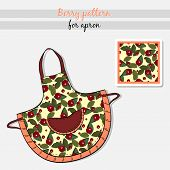 picture of apron  - Hand drawn apron with watercolor pattern - JPG