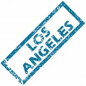 stock photo of blue angels  - Vector blue rubber stamp with city name Los Angeles - JPG