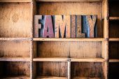 foto of typing  - The word FAMILY written in vintage wooden letterpress type in a wooden type drawer - JPG