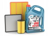 pic of lube  - Change filter oil motor engine can isolated - JPG