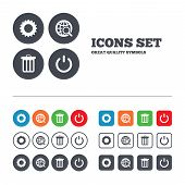 foto of recycle bin  - Globe magnifier glass and cogwheel gear icons - JPG