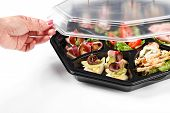 image of buffet lunch  - buffet box with cover set catering canape isolated - JPG