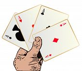 stock photo of poker hand  - The best winning hand in a poker game over a white background - JPG