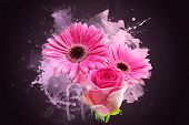 pic of gerbera daisy  - Grunge style abstract background of Gerbera daisies and rose - JPG
