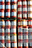 image of keg  - Large stack of colorful aluminum beer kegs outside one of the numerous microbrew beer breweries in Oregon - JPG