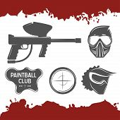 pic of paintball  - Paintball topic vector set of design elements - JPG