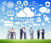 picture of social system  - Social Media Social Networking Connection Data Storage Concept - JPG