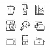 stock photo of household  - Household kitchen appliances vector line style isolated 9 items s icon set and symbols - JPG