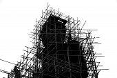 stock photo of budha  - black and white build image of Buddha statue - JPG