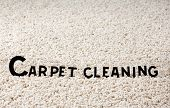 """stock photo of house cleaning  - Image of white carpet with title """"carpet cleaning"""" ** Note: Shallow depth of field - JPG"""