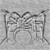 stock photo of drum-set  - vector illustration drum set against the backdrop of a brick wall - JPG