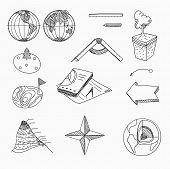 picture of geography  - Geography lesson School objects and educational equipment Cartography and topography Education linear hand drawn icons - JPG