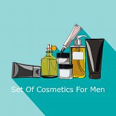 stock photo of beard  - looking after a set of cosmetics for men  - JPG