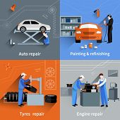 pic of cap gun  - Mechanic design concept set with auto tyres and engine repair and painting flat icons isolated vector illustration - JPG