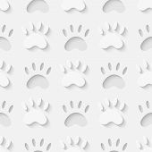 picture of paw  - Vector 3d seamless cat paw silhouette pattern background - JPG
