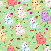 pic of lollipops  - Childrens seamless pattern from cotton candy candy and colorful stars - JPG