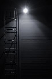 image of emergency light  - Fire emergency rescue access escape ladder stairway - JPG