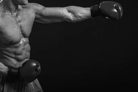 stock photo of boxing  - The man in boxing gloves - JPG