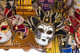 pic of venice carnival  - Venetian masks in store display in Venice - JPG