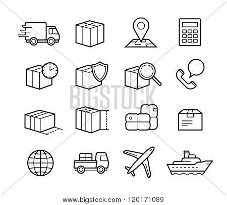 Parcel delivery service icon set. Fast delivery and quality service transportation. Shipping vector