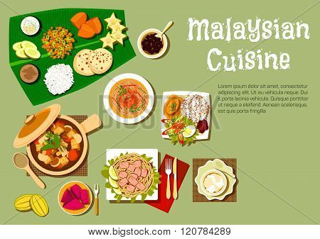 malaysian cuisine dishes and tasty desserts poster id:120784289