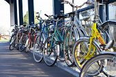 image of bike path  - a row of parking bicycles at a railwaystation - JPG