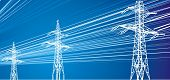stock photo of electrical engineering  - power lines on electric blue sky background - JPG