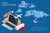 Global logistics. Global logistics network. Logistic isometric concept. Logistic Insurance. Ship car poster