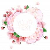 Постер, плакат: Bouquet Of Peonies Summer Template With Your Text