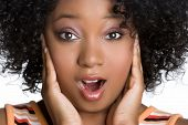 image of young black woman  - Shocked African American Woman - JPG