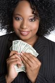 pic of save money  - African American Businesswoman Holding Money - JPG