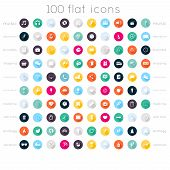 Постер, плакат: Set Of 100 Flat Icons Music Icons Education Icons Business Icons Shopping Icons Communication