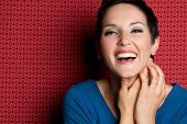 image of young women  - Beautiful smiling laughing young woman - JPG