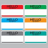 Постер, плакат: Hello My Name Is Sticker Sign Badge Set Color