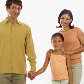 stock photo of nuclear family  - Portrait of family - JPG